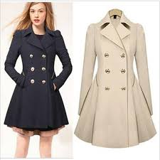 women s double ted trench coat slim real trench long jacket overcoat outwear black navy beige trench coats for women classic trench coat long trench