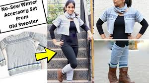 convert old sweater into 3 winter accessories in 2 minutes no
