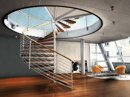 Decorations:Incredible Modern Spiral Staircase Designs With Cool Yellow  Chair And Laminated Wooden Floor Idea