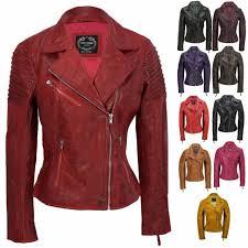 womens vintage slim fitted soft real leather las biker jacket uk size 6 24
