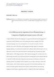 pdf l1 l2 differences in the acquisition of form meaning pairings a comparison of english and german learners of french