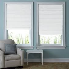 ... Blinds, Cloth Blinds Cloth Vertical Blinds Two Clear Glass Window With  White Roman Shades White ...