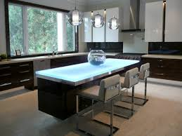 glass countertop with backlighting on kitchen island