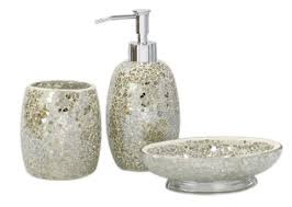 gold mosaic bathroom accessories. 3pc modern mercury sparkle mosaic glass tile bathroom accessory set accessories: amazon.co.uk: kitchen \u0026 home gold accessories r