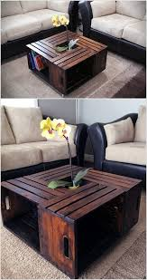 Join Together Four Wooden Crates in The Way Shown to Make a Coffee Table  with Storage