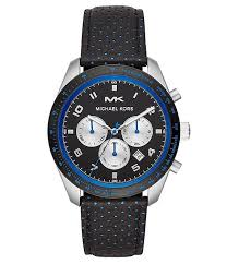 michael kors oversized keaton silver tone and perforated leather watch dillard s