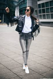 missguided fringe leather jacket outfit ideas with stan smith sneakers