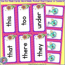 Kindergarten Spring Dolch Sight Word Cards Pocket Chart Game