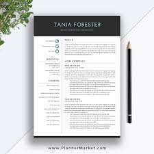 Modern Unique Resume Resume Template 3 Page Unique Cv Template Professional Modern Resume Design Cover Letter Ms Word Mac Pc The Tania Resume