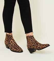 new look tan leather leopard print western boots