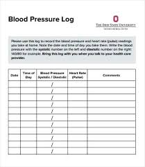 Blood Pressure Tracking Sheet Blood Pressure Record Charts Spreadsheet Template 9 New And