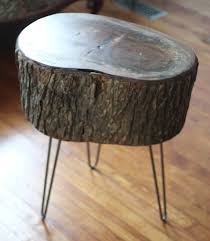 reclaimed tree stump side table