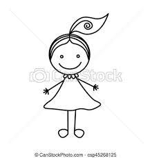 かわいい シルエット 手 女の子 図画 ポニーテール