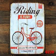 bicycle metal art bicycle wall decor enjoy your life with bicycle vintage tin signs retro metal plate tandem bike metal wall art