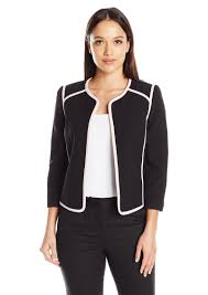 kasper women s petite size solid jewel neck flyaway jacket with pink trim 14p