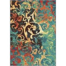 watercolor scroll multi bright colors 7 ft x indoor area rug colored rugs n