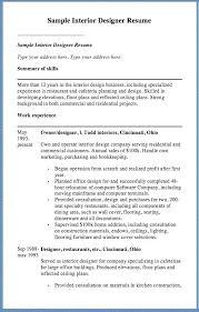 Sample Kitchen Designer Resume Interior Designer Resume Sample Free Resume Template Evacassidy Me
