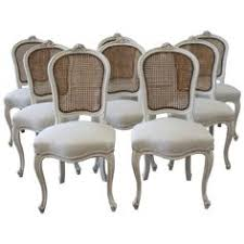 set of eight vine french painted cane back dining chairs from a unique collection of