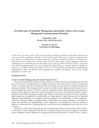 the relevance of scientific management and equity theory in  the relevance of scientific management and equity theory in everyday managerial communication situations pdf available