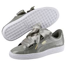puma basket heart patent wns women shoes color gray material upper