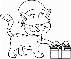 Christmas Cat Coloring Pages Admirable Happy Cat Wearing Christmas