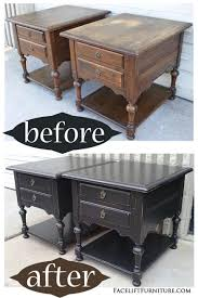 oak wood for furniture. Ethan Allen Oak End Tables In Black - Before \u0026 After From Facelift Furniture Wood For R