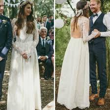 rustic long sheer sleeves backless boho wedding dresses high neck