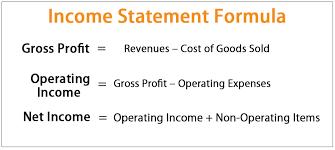 Income Statement Formula Calculate Income Statement Items