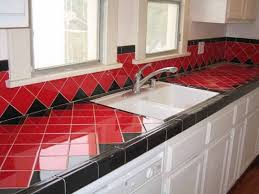 Red Floor Tiles Kitchen White Beige Tile Countertop Light Brown Wooden Cabinets Tile