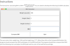 Bmi Index Chart Solved Implement A Body Mass Index Bmi Calculator Calc