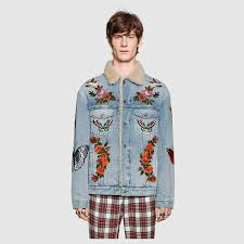 embroidered denim jacket with shearling gucci men s denim 408623xr2404417