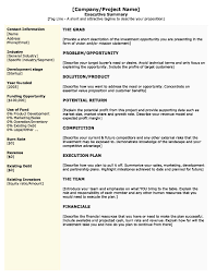 Format For An Executive Summary How To Write Executive Summary For Business Plan Format