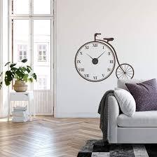 retro bicycle wall sticker clock