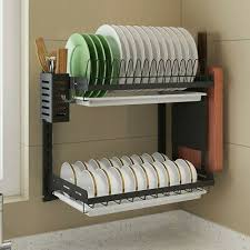 dish drying rack 2 tier hanging wall