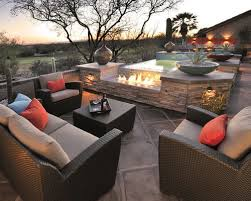 pretty patio decorated with the colors