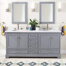 72 Quen Double Vanity For Undermount Sinks Gray Bathroom
