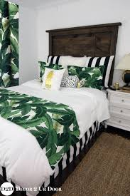 palm leaf black white stripe apartment bedding set