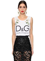 dolce gabbana embroidered printed cotton jersey top white sfdcmzu1 women clothing dolce and gabbana