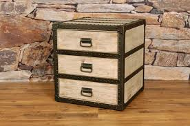 nightstand set of 2 metal and leather trunk furniture rustic trunks for trunk style chest of drawers bedroom trunk