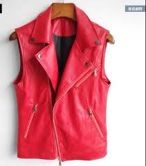 2017korean version of the stylish sleeveless leather vest men s slim leather vest rocker red large size pu