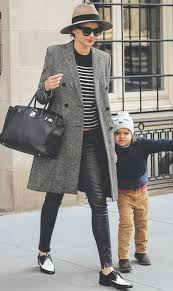 want to wear a personality in winter black leather pants with gray striped coats style and fashion creating a handsome