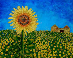 sunflowers in provence france original acrylic painting 8 x 10 by mike kraus