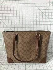 Coach F29208 Zip Top Tote In Signature Canvas Brown Saddle