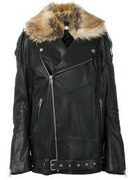 faith connexion oversized leather jacket with faux fur trim black