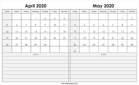April May 2020 Calendar Printable Print April May 2020 Calendar Template 2 Month Calendar