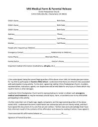 Parental Release Form VBS Medical Form Parental Release Christ Presbyterian Church 1