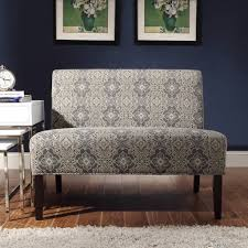 Inspirative Blue Damask Armless Loveseat By Inspire Q
