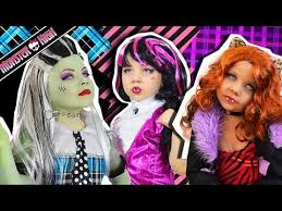 monster high doll costume makeup tutorial for frankie stein draculaura clawdeen wolf