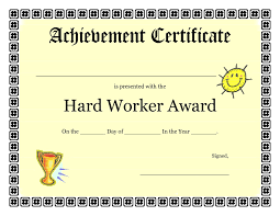 Printable Achievement Certificates Printable Achievement Certificates Kids Hard Worker Achievement