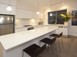 Riveting L Shaped Kitchen With Island And Small Clear Glass Pendant Lights  Also High Gloss Kitchen